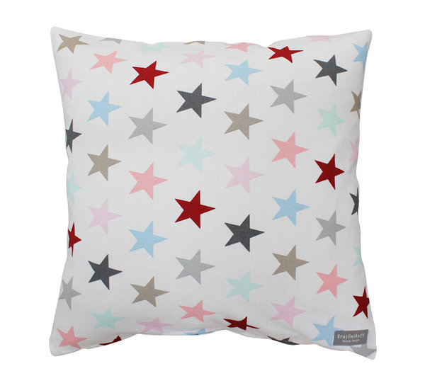 Kissenbezug Cushion multi white star Krasilnikoff
